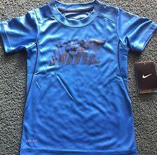 NWT Nike Boys 6 Light Blue/Black NIKE Micro Mesh Dri-Fit Shirt 6