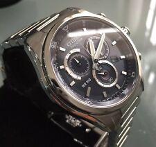 Men's Genuine Citizen Eco Drive Solar Chronograph Navy Blue Steel Designer Watch