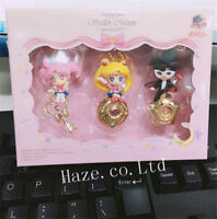 3pcs/Set Sailor Moon Twinkle Dolly PVC Figure Keychain Ring Pendant Toys in Box