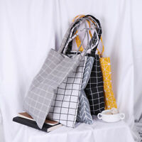 Double layer linen plaid bag tote ECO shopping outdoor canvas shoulder bagsHC