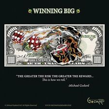 GAMBLING ART PRINT $1,000 Bill Winning Big Michael Godard