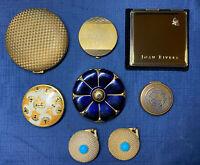 Vintage Lot 8 Compacts Mirror Powder Evans Coty Paris Estee Lauder Charles Ritz