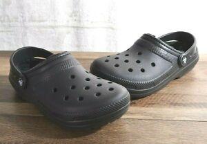 Crocs Classic Lined Clog Unisex Women's 9 Men's 7 Black Roomy Fit Shoe 203591