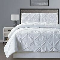 Double-Needle Stitch Goose Down Alt Pinch Pleat Solid White King Comforter Set