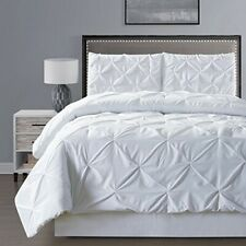 Double-Needle Stitch Goose Down Alt Pinch Pleat Solid White Comforter Set King