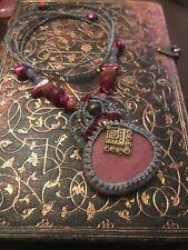 Macrame Necklace - Labradorite Stone Pendant - Handmade Bohemian Jewelry