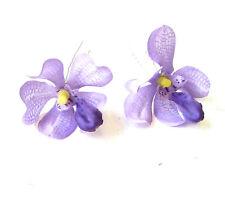 2x Lilac Purple Vanda Orchid Flower Hair Pins Tropical Rockabilly Clip Vtg 1278