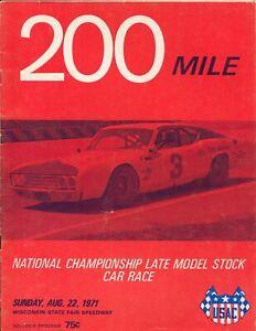 Wisconsin State Fair Park Speedway USAC Auto Race Program 8/22/1971-Foyt-FN