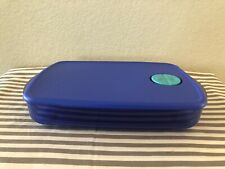 Tupperware Rock N Serve Container Microwave Safe 6 Cups Blue w Aqua Rectangle