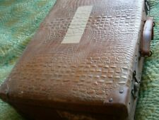 Vintage suitcase Hippo Brand mark - mock crocodile - cardboard? Theatre Prop?
