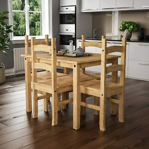 Small Natural Wooden Dining Table And 4 Chairs Set Kitchen Room Rustic Pine