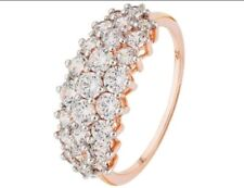 REVERE 9CT ROSE GOLD CUBIC ZIRCONIA ELONGATED CLUSTER RING SIZE N
