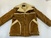 Mens Vintage Campus Outerwear Brown Corduroy Sherpa  Lined Coat Jacket Sz 44