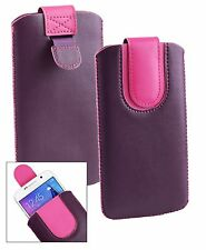 Stylish PU Leather Pouch Case Sleeve has Pull Tab for Philips phones