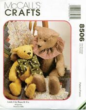 McCalls 8506 Little City Bears Bow 15,22 inch Hills Sewing Pattern UNCUT FF NEW