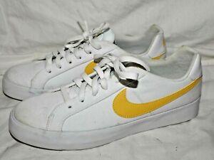 Nike Women's Court Royale Ac Canvas Sneaker White/Topaz Yellow Gold Size 10