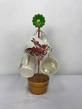 Vintage Retro Metal Cup Mug Tree Holder & Four MUGS Flower Pot Chicken Motif
