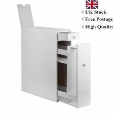 Bathroom Slim Cupboard Narrow Cabinet Toilet Room Storage Slimline Unit - White