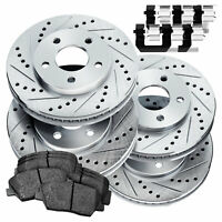 POWERSPORT *DRILLED SLOTTED* Brake Rotors CERAMIC PADS BZ58051 Front+Rear Kit