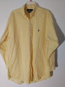 RALPH LAUREN Yarmouth Shirt 16.5(32/33)Pony Logo Lite Yellow Stripe