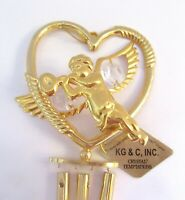 Wind Chime CHERUB IN HEART -Austrian Crystals-24K gold plated-clear crystals
