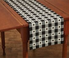 Country Checkerboard Star Table Runner 13X54 Black Ivory Large Check Cotton
