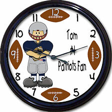 New England Patriots Personalized Wall Clock NFL Football Boston Brady Custom
