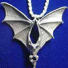 LOOK Large Big Gothic Vampire Prince Dracula Bat Sterling Silver Sapphire eyes c