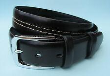 Hombre Vestido Negro Marrón Cuero Auténtico costuras Estampado Cinturón