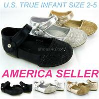 Infant Toddler Girl Flat Shoes Dress Formal Casual Glittery Party Belt Wedding