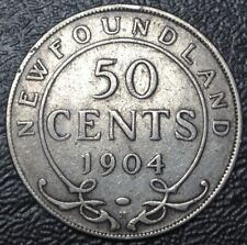 OLD CANADIAN COIN 1904 NEWFOUNDLAND - 50 CENTS - .925 SILVER - Edward VII