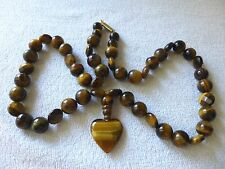 "Natural Tigers Eye Round 10mm & Faceted Beads 20"" Strand Heart Pendant"