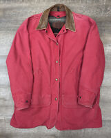 Woolrich Blanket Lined Womens Vintage Button Denim Barn Jacket Size Large Red