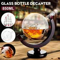850ml Globe World Glass Crystal Whiskey Decanter Liquor Spirits Wine Bottle Gift