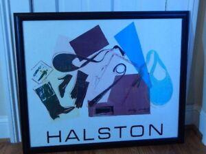 Halston Womenswear Lithograph 1982 Linen After Original Andy Warhol Framed