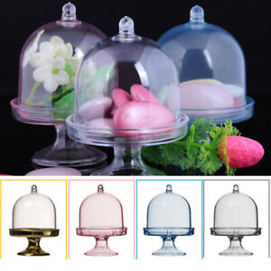 12Pcs Mini Cake Display Stand Cupcake Holder + Dome Cover Wedding Party Decor