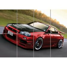 Nissan Skyline R34 Red Sports Rally Car Giant Picture Art Print Poster