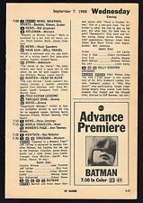 "1966 TV AD~BATMAN & ROBIN EPISODE ""SHOOT A CROOKED ARROW"" ADAM WEST~ARCHIE MOORE"