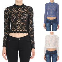 Womens Long Sleeve Lace Mock Neck Crop Top Floral Sheer Fitted Stretch Shirt Top