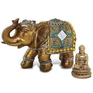 "Feng Shui Brass Color 6"" Elegant Elephant Statue & Gold Mini Buddha Figurine"