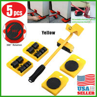 5pc Heavy Furniture Moving System Lifter Tool 4 Slide Glider Pad Wheel Easy Move