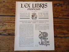 L' EX LIBRIS FRANCAIS N° 69 CONGRES INTERNATIONAL PARIS 1962