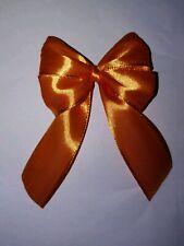 6x Luxury Orange With Gold Trim Satin Ribbon Gift Bow Xmas Wedding Decoration