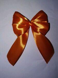 6x Luxury Orange Trim Satin Ribbon Gift Bow Xmas Wedding Decoration Halloween