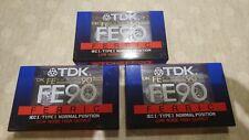 TDK FE90 Cassette Tapes x 3 *** BRAND NEW SEALED ***