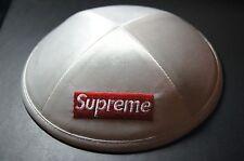 Supreme Yarmulke Kippah Yamaka Real White Satin Hat    6-Panel Camp Cap Box Logo