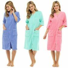 Femmes Tissu Éponge Fermeture Éclair Through Peignoir, 100% Cotton Tissu Éponge