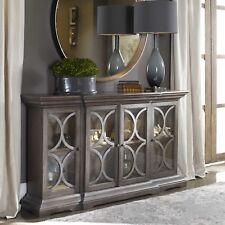 """NEW LARGE 64"""" WOOD ACCENT CABINET CONSOLE 4 DOORS VINTAGE FINISH MODERN LOOK"""