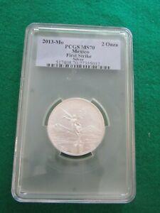 SCARCE 2013 MO  MEXICO 2 OZ .999 SILVER LIBERTAD PCGS MS70 FIRST STRIKE COIN