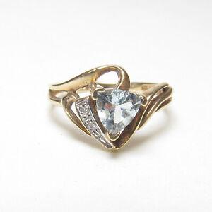 Estate 10K Yellow Gold 0.70 Ct Natural Light Blue Aquamarine And Diamond Ring